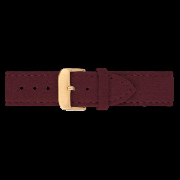 Uhrenarmband IP Gold Alcantara Dark Berry 20mm