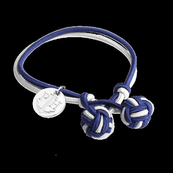 Bracelet Nœud Argenté Nylon Bleu Marine Blanc