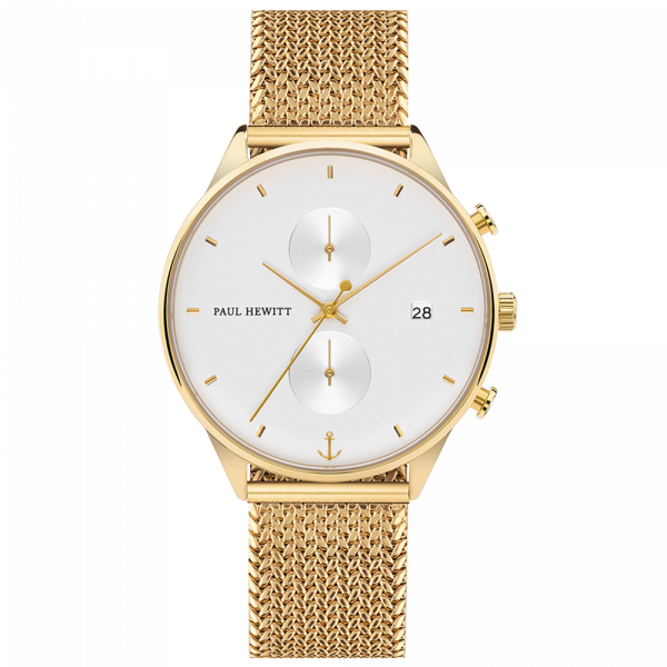 Montre Chrono White Sand Or Woven Mesh