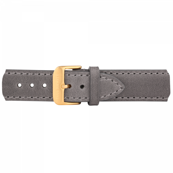Watch Strap Leather Gold Grey 20 mm
