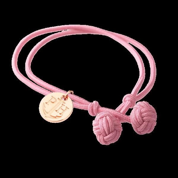 Knotenarmband Roségold Nylon Rosa