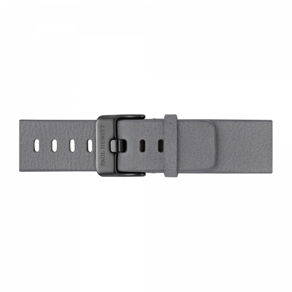 Uhrenarmband Leder Schwarz Light Grey 20 mm