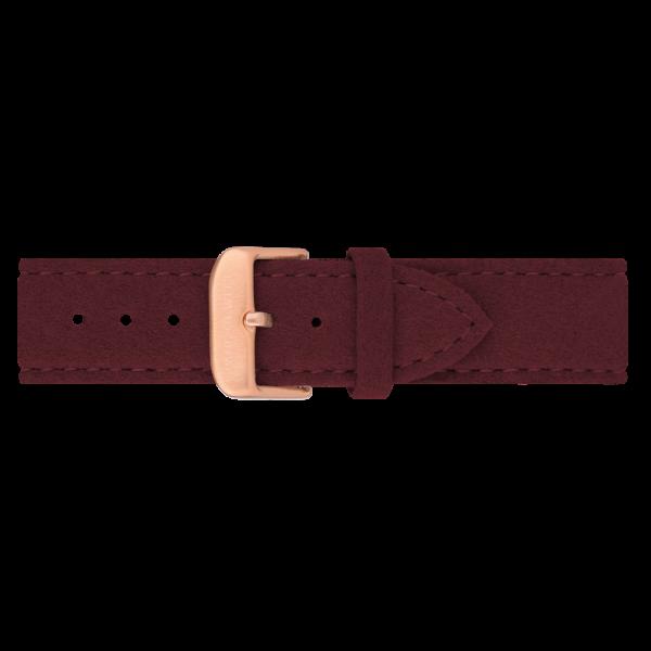 Uhrenarmband IP Roségold Alcantara Dark Berry 20mm