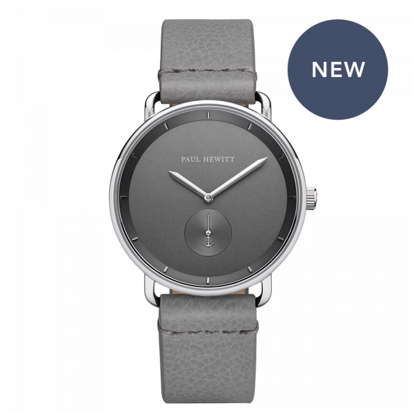 Watch Breakwater Iron Grey Silver Leather Light Grey