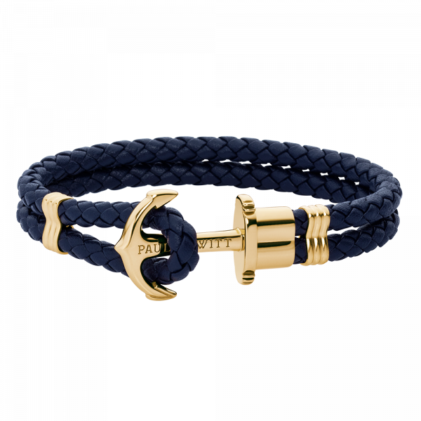 Ankerarmband Phrep Gold Leder Marineblau
