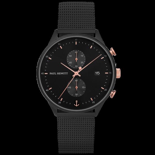 Uhr Chrono Line Black Sunray IP Schwarz/Roségold Meshband IP Schwarz