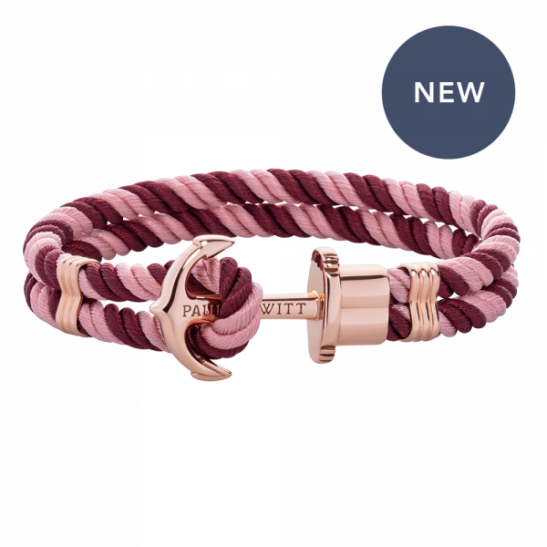 Bracelet Ancre Phrep Or Rose Nylon Aurora Dark Berry