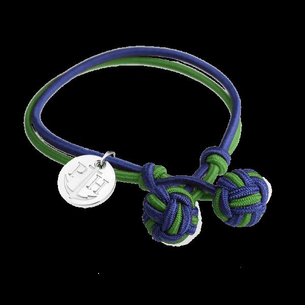 Bracciale Nodi Argentato Nylon Blu Marino Verde