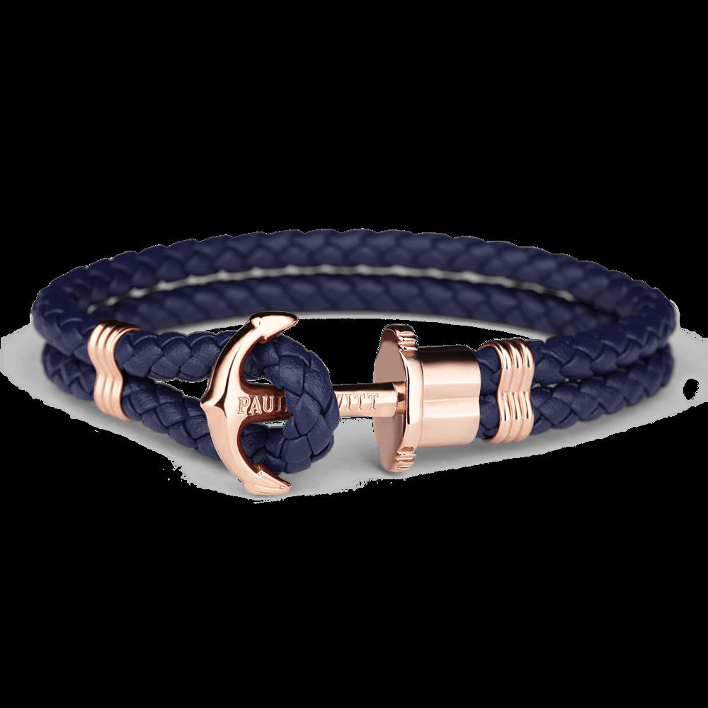 Anchor Bracelet PHREP IP Rose Gold Navy Blue