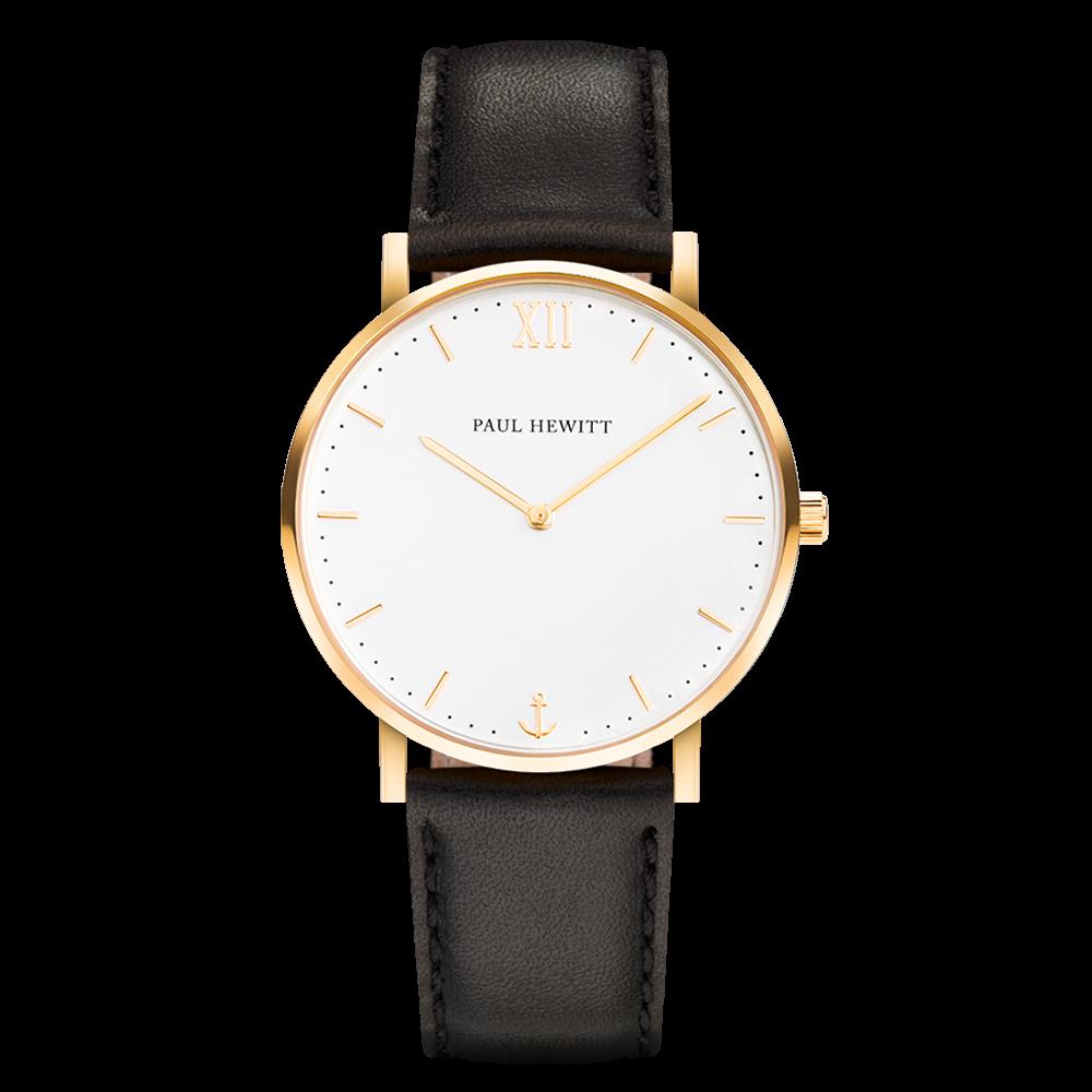 Watch Sailor Line White Sand IP Gold Leather Watch Strap Black