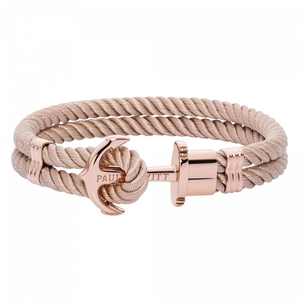 Bracelet Ancre Phrep Or Rose Nylon Hazelnut