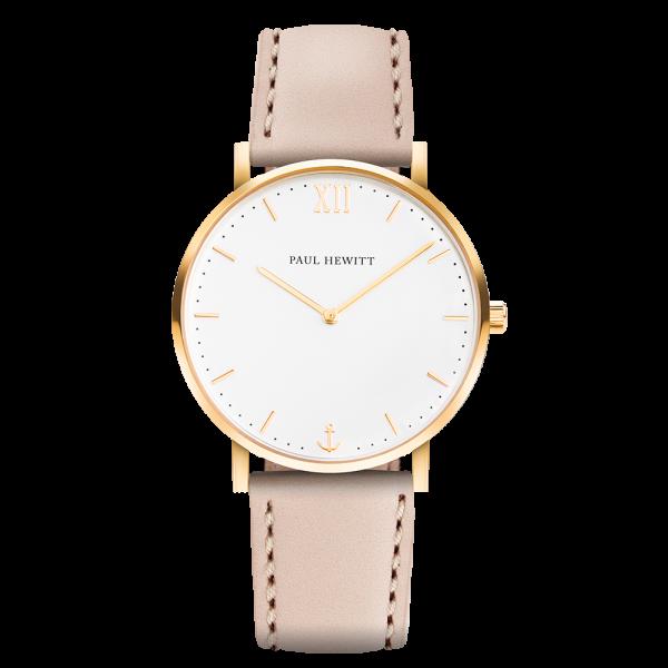 Uhr Sailor Line White Sand IP Gold Lederarmband Hazelnut