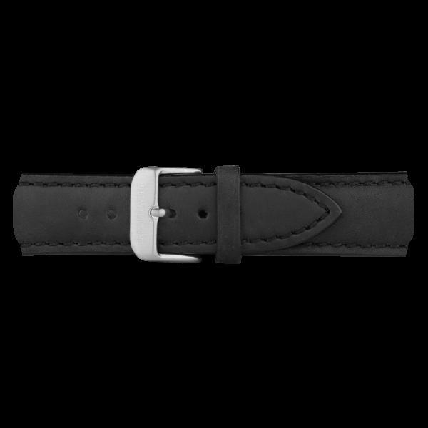 Cinturino Pelle Argentato Nero 20 mm