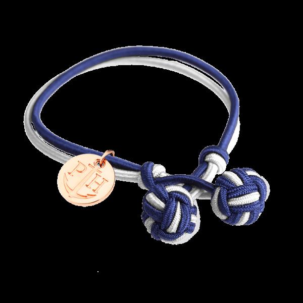 Knotbracelet Rose Gold Nylon Navy Blue White