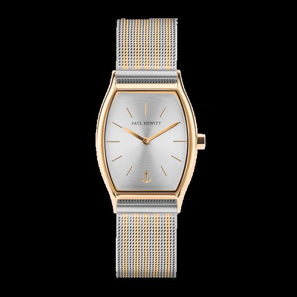 Uhr Modern Edge Line Silver Sunray IP Gold Meshband Bicolor IP Gold / Edelstahl