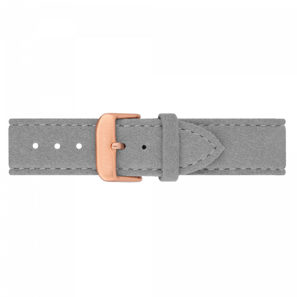 Uhrenarmband IP Roségold Alcantara Grau 20mm