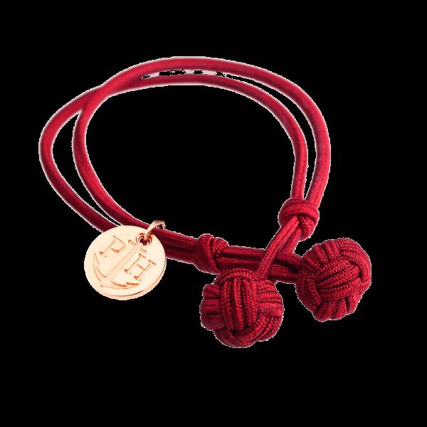 Knotenarmband Roségold Nylon Rot