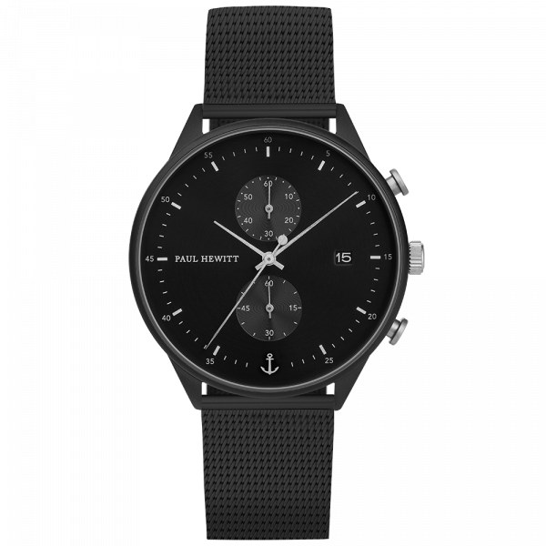 Watch Chrono Line Black Sunray IP Black/Stainless Steel Mesh Strap IP Black
