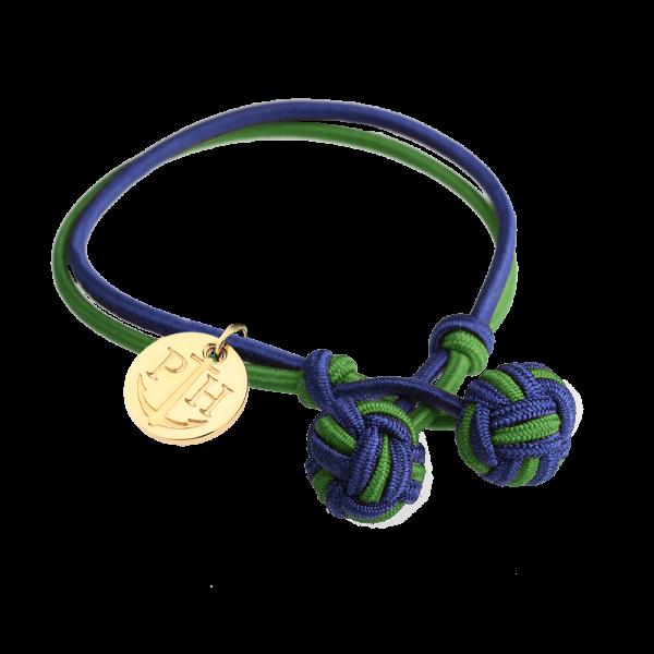 Knotbracelet Gold Nylon Navy Blue Green