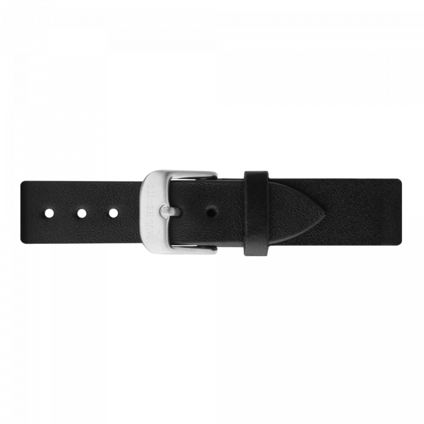 Watch Strap Leather Silver Black 16 mm