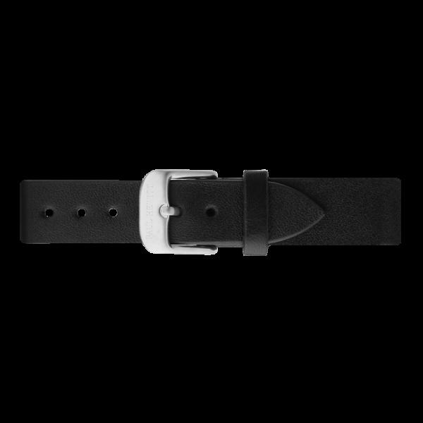 Uhrenarmband Leder Silber Schwarz 16 mm