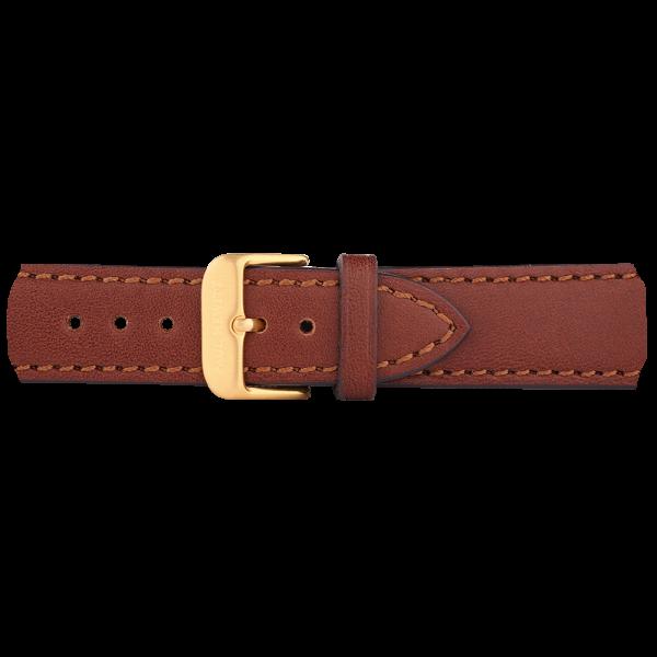 Uhrenarmband IP Gold Leder Braun 20mm