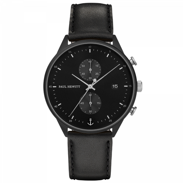 Uhr Chrono Line Black Sunray IP Schwarz/Edelstahl Lederarmband Schwarz