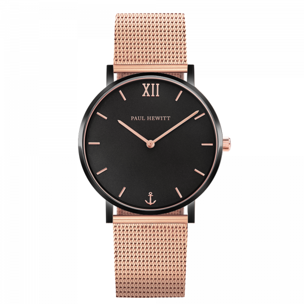 Montre Sailor Black Sunray Noir Or Rose Mesh Or Rose
