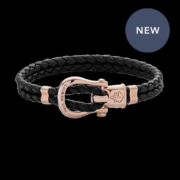 Bracelet Phinity Rose Gold Leather Black