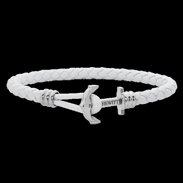 Bracelet Ancre Phrep Lite Argenté Cuir Blanc