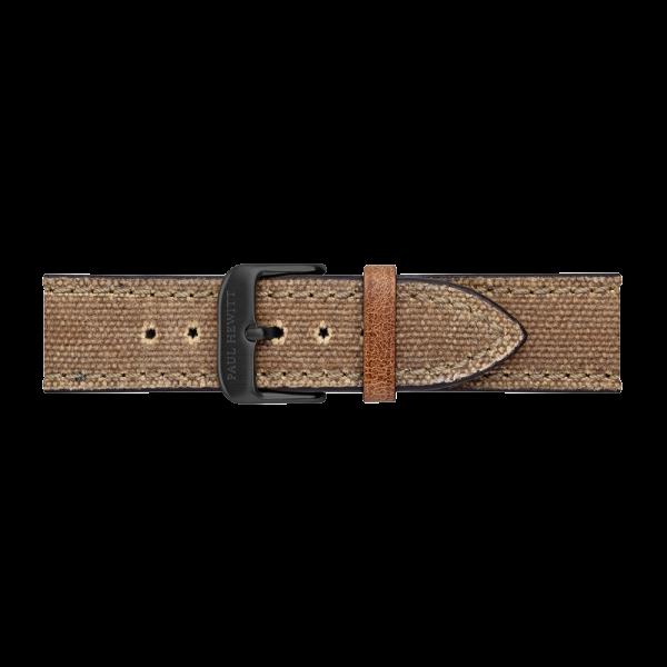 Uhrenarmband IP Schwarz Canvas Desert 20mm