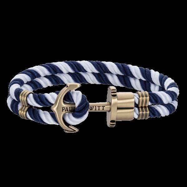 Ankerarmband Phrep Messing Nylon Marineblau Weiß