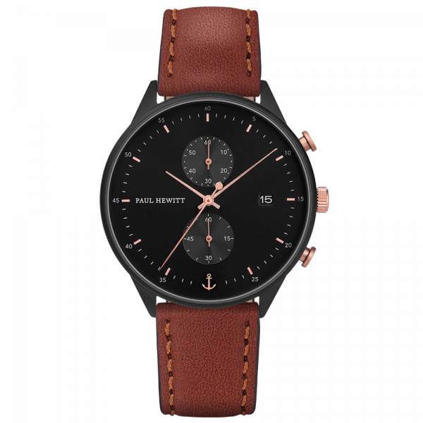 Watch Chrono Black Sunray Black Rose Gold Leather Brown
