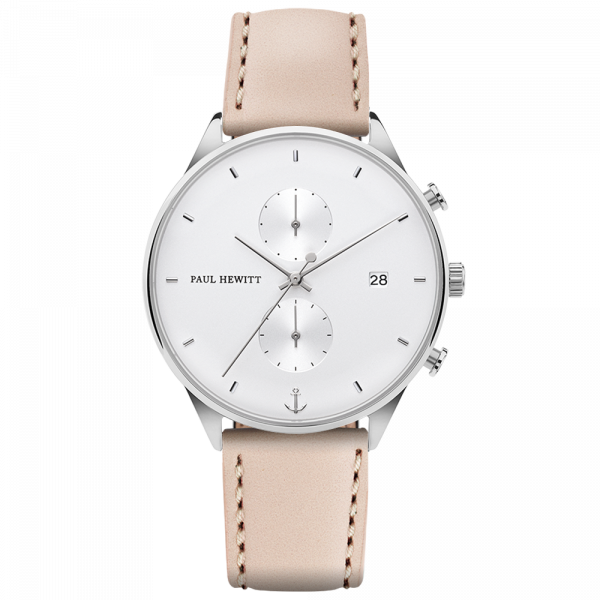 Uhr Chrono White Sand Silber Leder Hazelnut