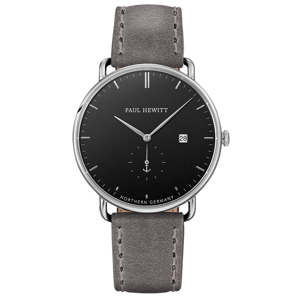 Watch Grand Atlantic Line Black Sea Stainless Steel Leather Watchstrap Grey