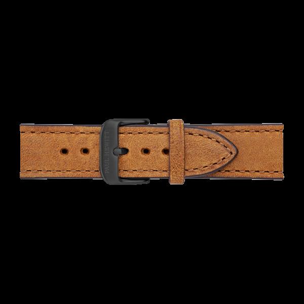 Bracelet de Montre Cuir Noir Mustard 20 mm