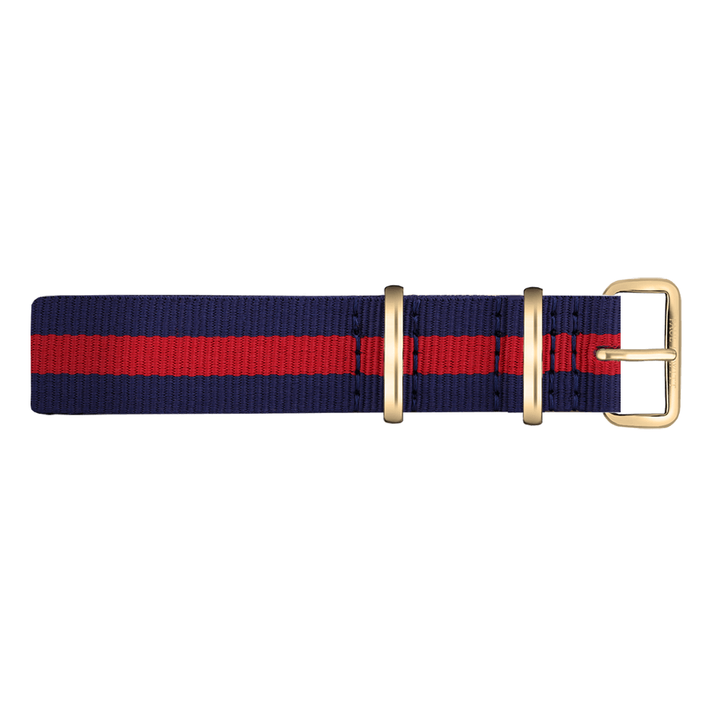 Watchstrap IP Gold Nato Strap Navy Blue-Red