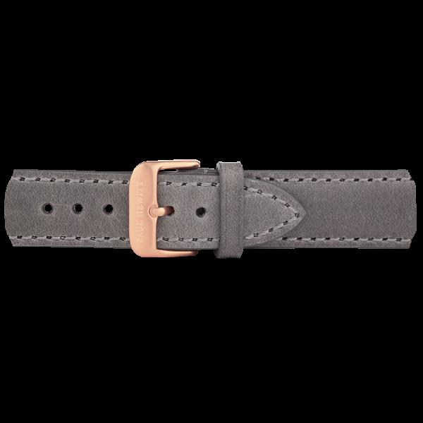 Uhrenarmband IP Roségold Leder Grau 20mm