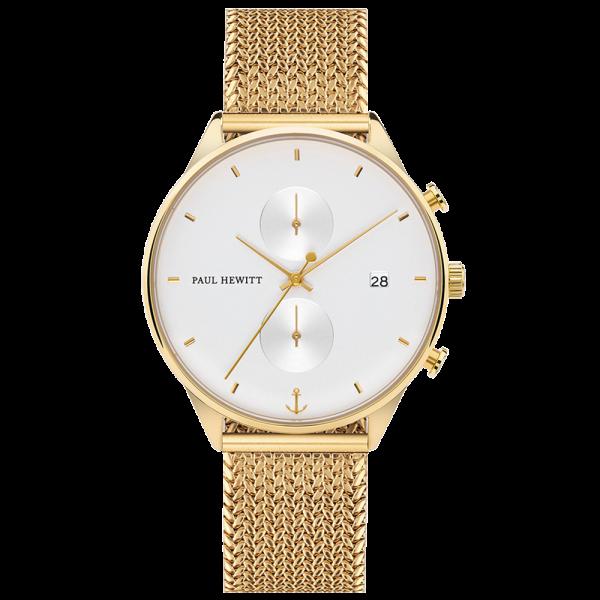Uhr Chrono Line White Sand IP Gold Woven Meshband IP Gold