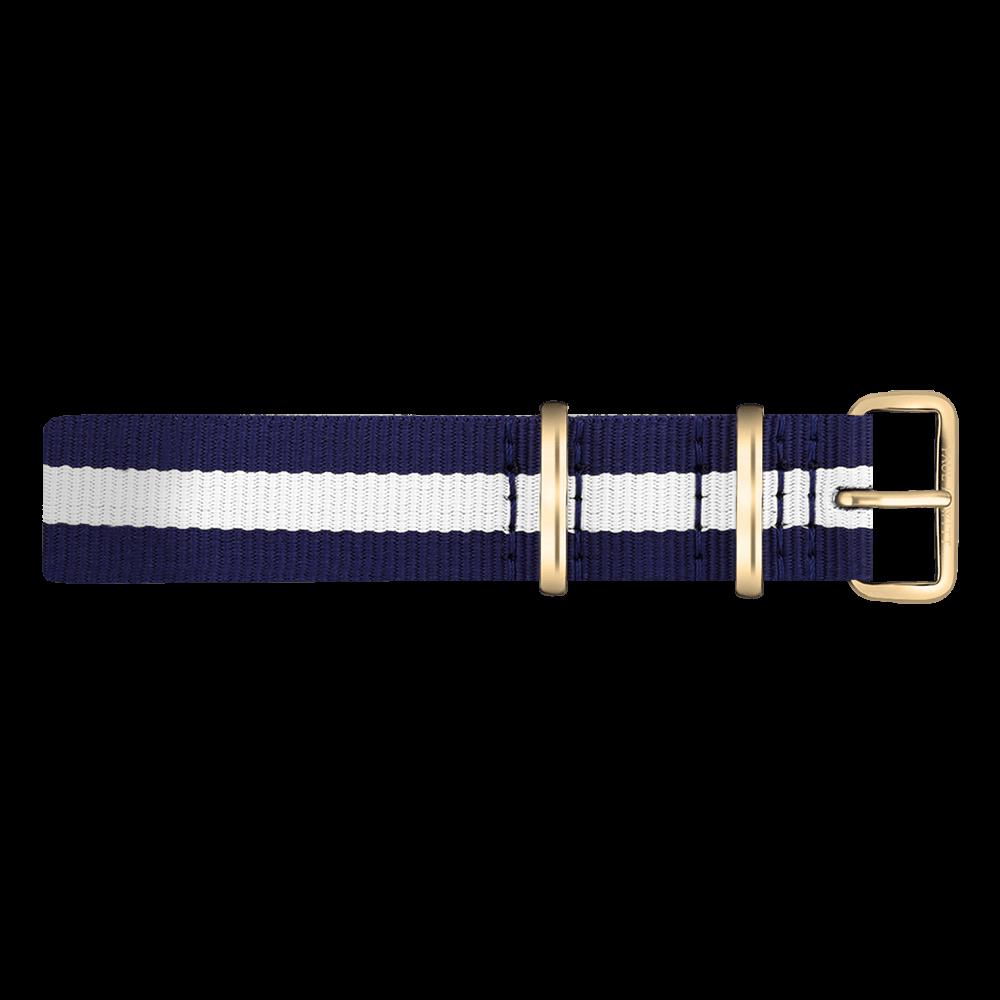 Watchstrap IP Gold Nato Strap Navy Blue-White