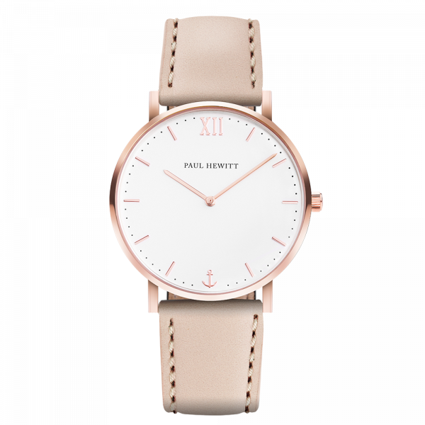 Montre Sailor White Sand Or Rose Cuir Hazelnut
