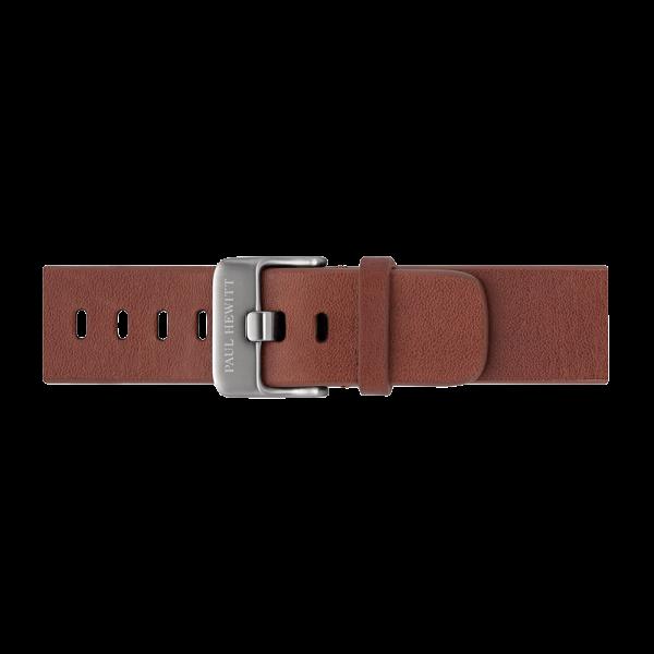Bracelet de Montre Cuir Argenté Mid Brown 20 mm