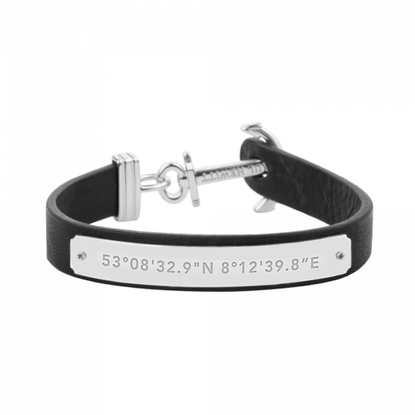 Anchor Bracelet Signum Coordinates Stainless Steel Black