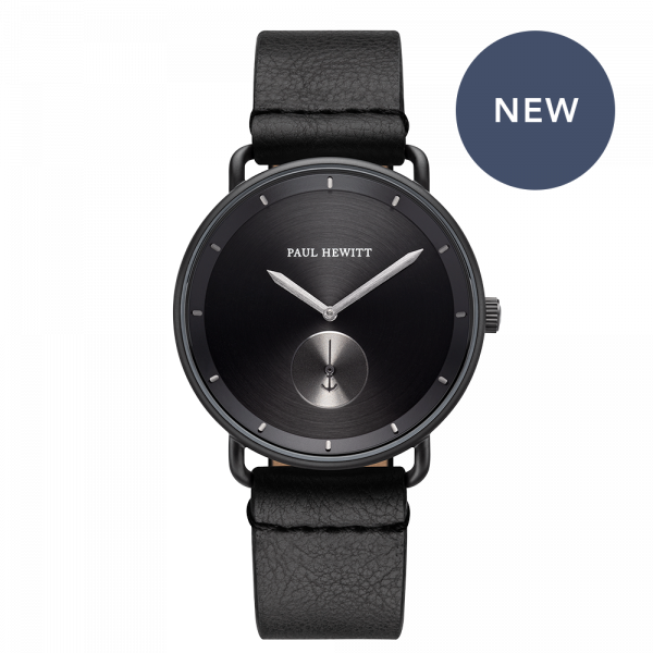 Montre Breakwater Black Sunray Noir Gun Metal Cuir Pure Black