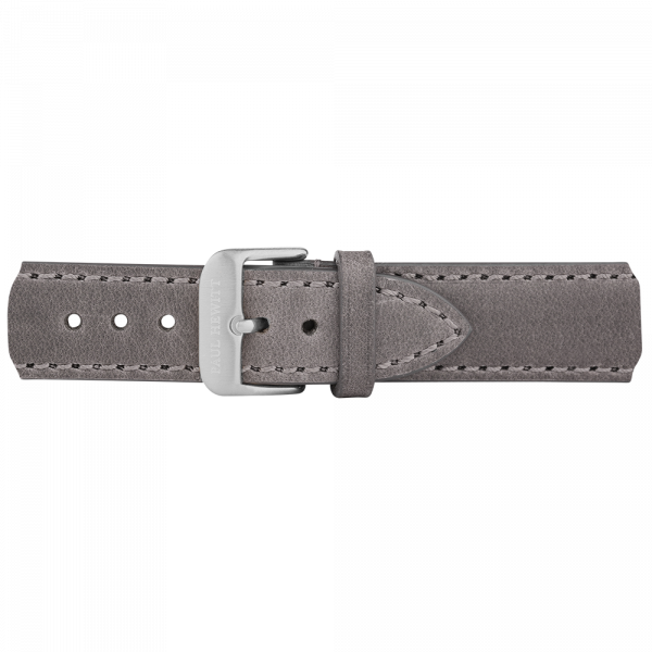 Watch Strap Leather Silver Grey 20 mm