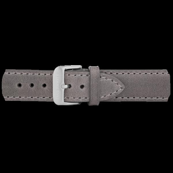 Uhrenarmband Leder Silber Grau 20 mm