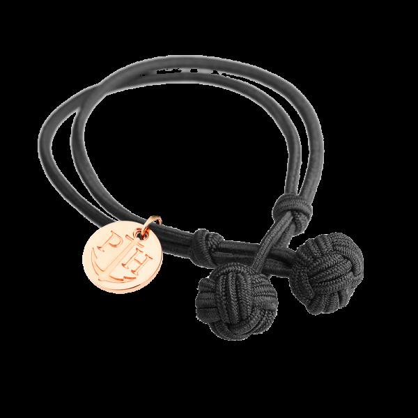 Bracelet Nœud Or Rose Nylon Noir