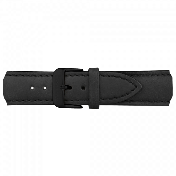 Uhrenarmband IP Schwarz Leder Schwarz 20mm