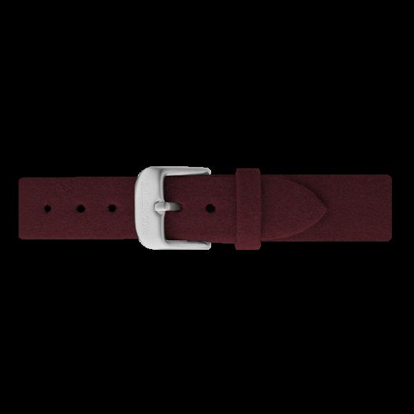Uhrenarmband Alcantara Silber Dark Berry 16 mm