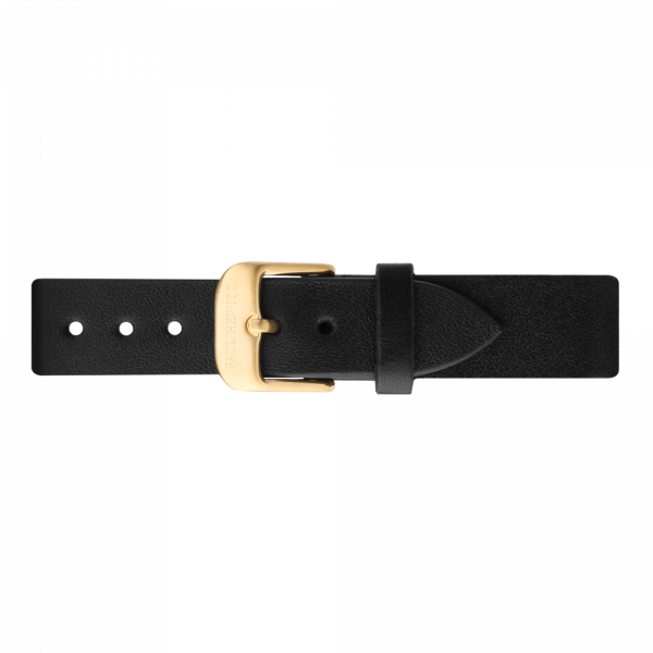 Bracelet de Montre Cuir Or Noir 16 mm